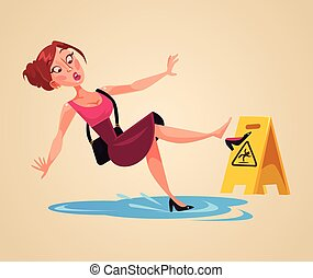 Inconsiderate woman character slips on wet floor. Vector...
