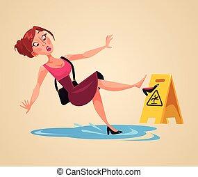 Inconsiderate woman character slips on wet floor. Vector flat cartoon illustration