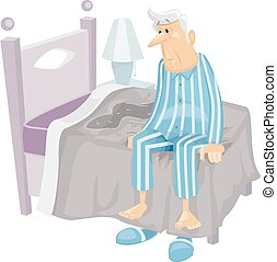 Incontinence - Illustration Featuring an Elderly Man Who Has...