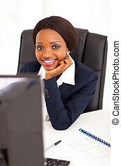 incorporado, trabalhador, escritório, africano