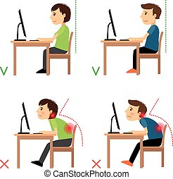 Incorrect and Correct back sitting position. Man and woman sitting before monitor example. Vector illustration.