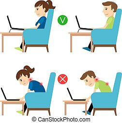 Incorrect and Correct laptop use position. Man and woman...