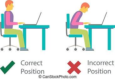 incorrect, attitude, correct, computer., séance
