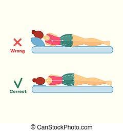 incorrect, femme, dormir, vecteur, correct, attitude