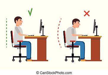 incorrect, plat, illustration., s'installer, correct, vecteur, position, style.