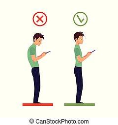 incorrect, tête, angle, correct, téléphone, vecteur, utilisation