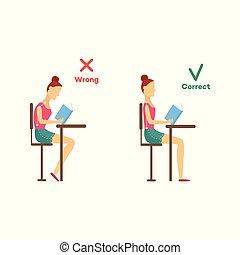 incorrect, tête, séance, correct, vecteur, bureau