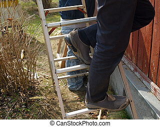 Incorrectly Placed Step Ladder - Angled, incorrectly placed...
