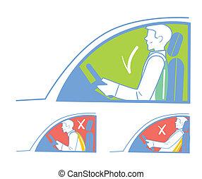 incorrecto, coche, correcto, posición