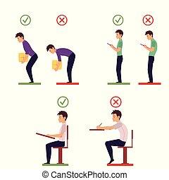 incorrecto, correcto, postura, espalda, infographics