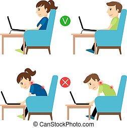 incorrecto, posición, uso, computador portatil, correcto