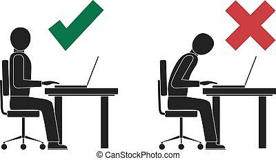 incorrecto, postura, correcto, computer., sentado