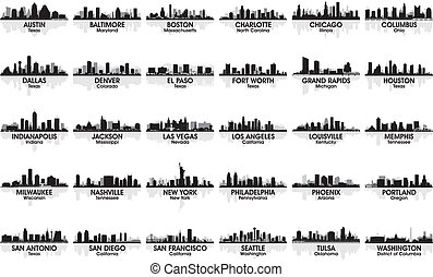 increíble, conjunto, de, estados unidos de américa, ciudad, skyline., 30, cities.