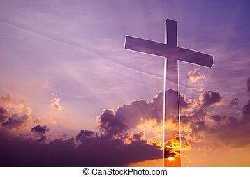 increíble, cruz, en, el, cielo