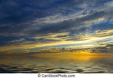 increíble, ocaso, agua calma, y, el, sol, cuál, ajuste, en, nubes tormenta