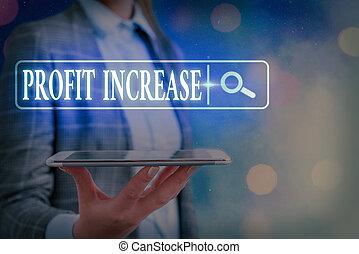 increase., crescita, segno, esposizione, futuristico, rete informazioni, tecnologia affari, connection., concettuale, gained, digitale, profitto, reddito, ricerca fotoricettore, importo, foto, testo