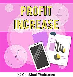 increase., gained, smartphone, układ, handlowy, dochód, korzyść, fotografia, pokaz, graph., sroka, lepki, kwota, wzrost, ręka, tekst, konceptualny, bar, pisanie, wykres, notatki