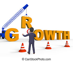 Increase Growth Showing Growing Improvement 3d Rendering