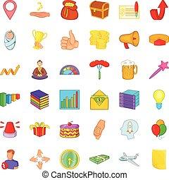 Increase icons set, cartoon style