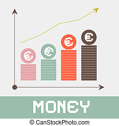 Increase Money Graph Paper Retro Vector Illustration
