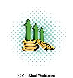 Increase of cash income icon, comics style