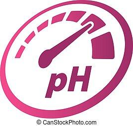 pH increase measurement perspective round vector icon. Speedometer symbol. Medical illustration