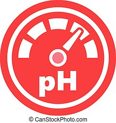 Increase of the pH Red Round Icon - pH increase measurement...