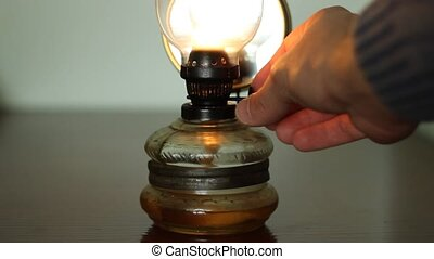 Increase Power of Gas Lantern - Hand is adjusting the amount...