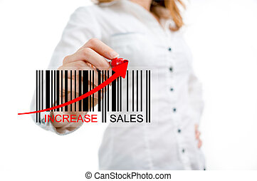 Increase sales red arrow black bar-code chart