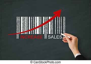 Increase sales concept on a chalkboard