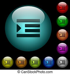 Increase text indentation icons in color illuminated glass ...