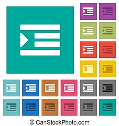 Increase text indentation square flat multi colored icons - ...