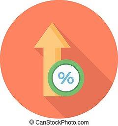 increase vector flat colour icon