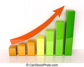 Increased growth - Shiny color bar graph indicating growth...