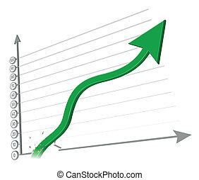 Increasing arrow vector illustratio - Business Graph, 3d...