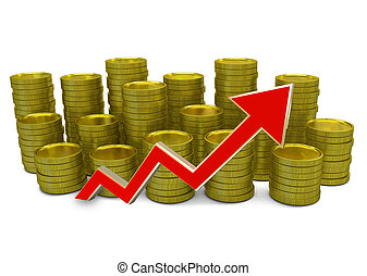 increasing costs - 3D finance graph - currency and green arrow