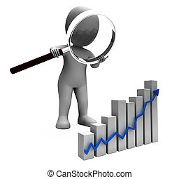 Increasing Graph Character Shows Profit Income Rising -...
