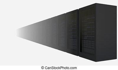 Increasing number of server racks against white background....
