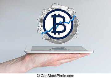 Increasing of global bitcoin currency exchange rate concept...