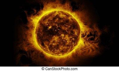 Increasing orange sun surface