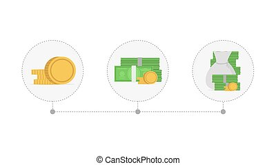 Increasing piles of coins and money. Concept of financial growth. Vector illustration