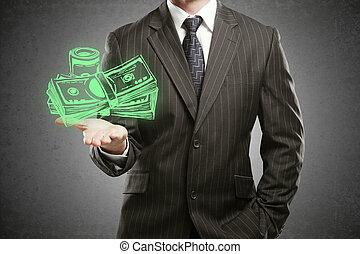 Increasing profit concept - Businessman in suit holding...
