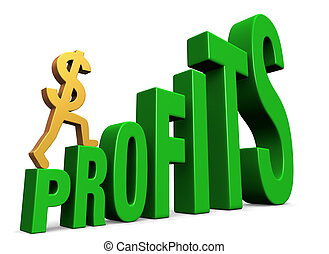 Increasing Profits - A gold dollar sign climbing green steps...