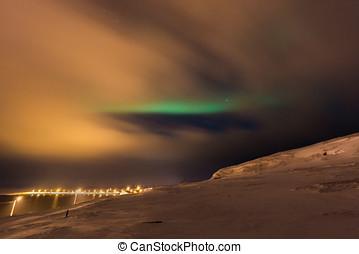 Incredible aurora borealis activity above ekkeroy island