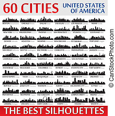 Incredible city skyline silhouettes set. United States of...