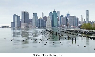 Incredible day to night time lapse panorama view on New York Manhattan downtown seascape modern architecture skyline