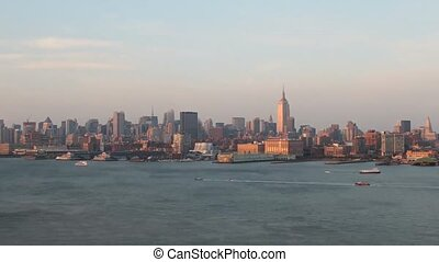 Incredible fast day to night time lapse panorama view on modern architecture New York city Manhattan skyline cityscape