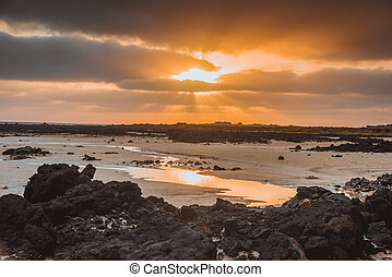 Incredible low tide coastside of Lanzarote. ACanary Islands. Spain