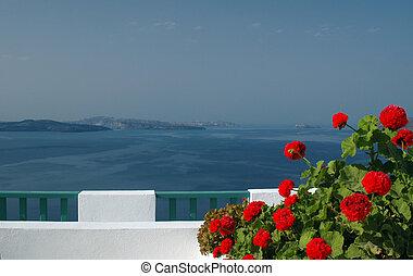 incredible santorini patio with view - greek island...