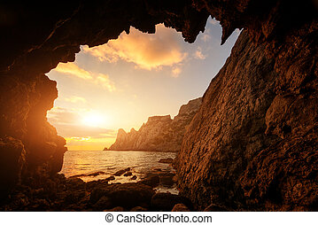 Incredible sunset from the cave
